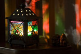 Small lamp with colour glasses — ストック写真