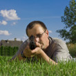 Stock Photo: Image of mholding shotgun