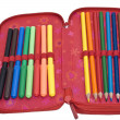 Case with colour pencils and felt pens — Stock Photo