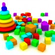 Toy pyramid over white background — Stock Photo