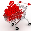 Shoping cart over white — Stock Photo