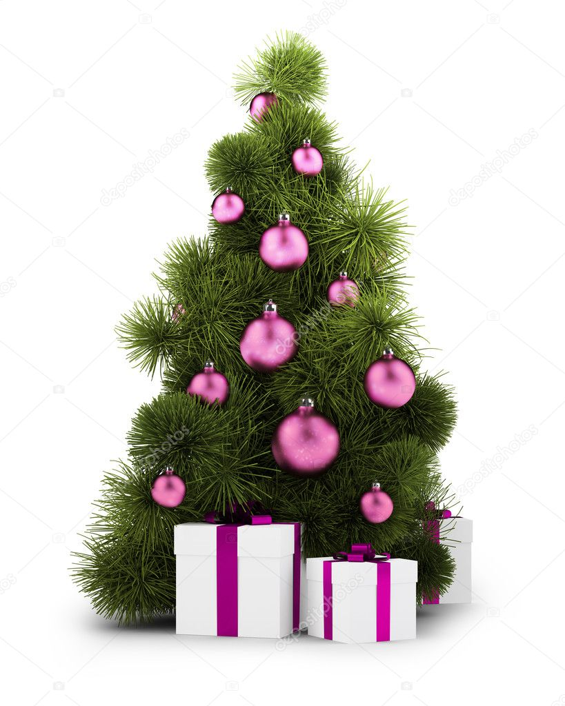 New Year tree with gifts and spheres on the isolated white background  Stock Photo #1215686