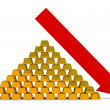 Recession of the price for gold — Stok fotoğraf
