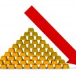 Recession of the price for gold — Stock Photo