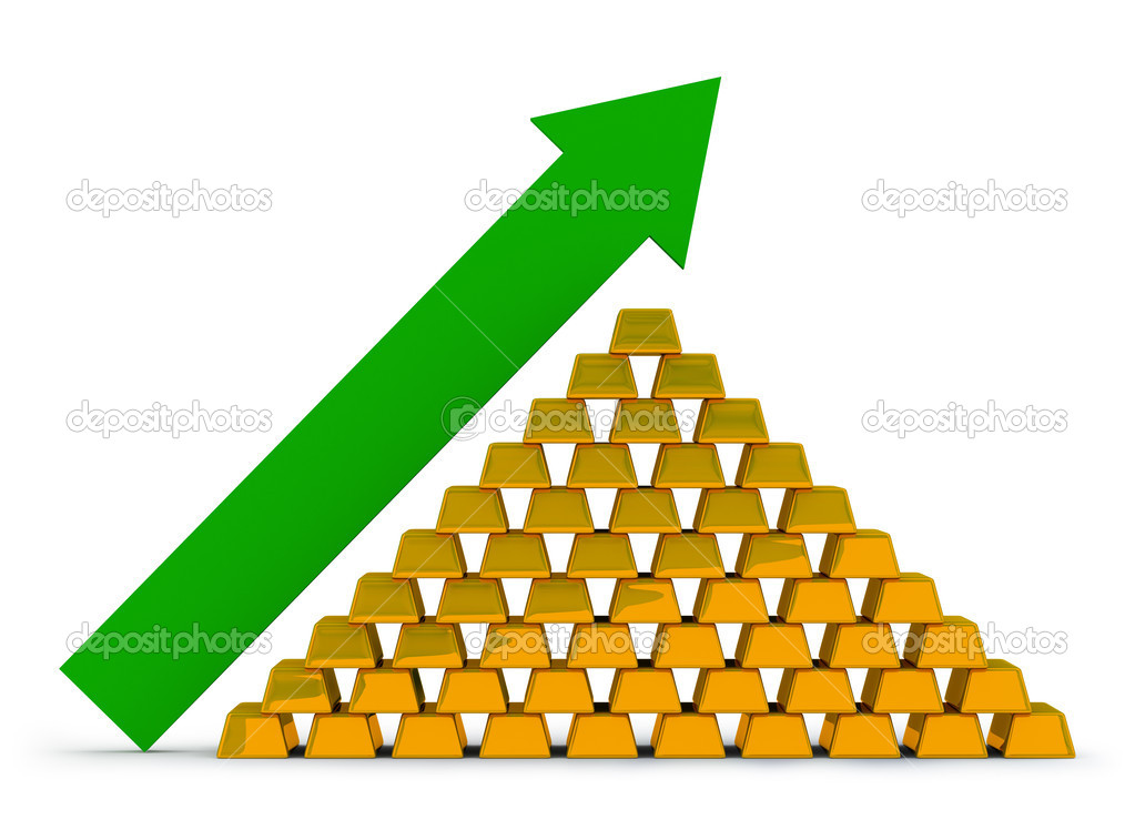 Pile of gold ingots with an arrow. Growth of the price for gold. — Stock Photo #1466810