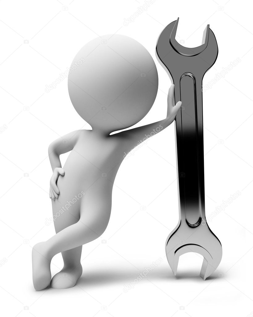 3d small with a wrench. 3d image. Isolated white background. — Lizenzfreies Foto #1523750