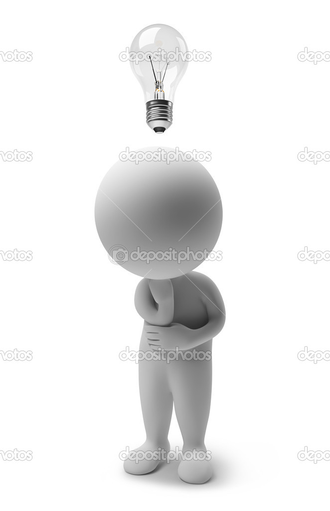 3d thinking small with a bulb over a head. 3d image. Isolated white background.  Stock Photo #1912515