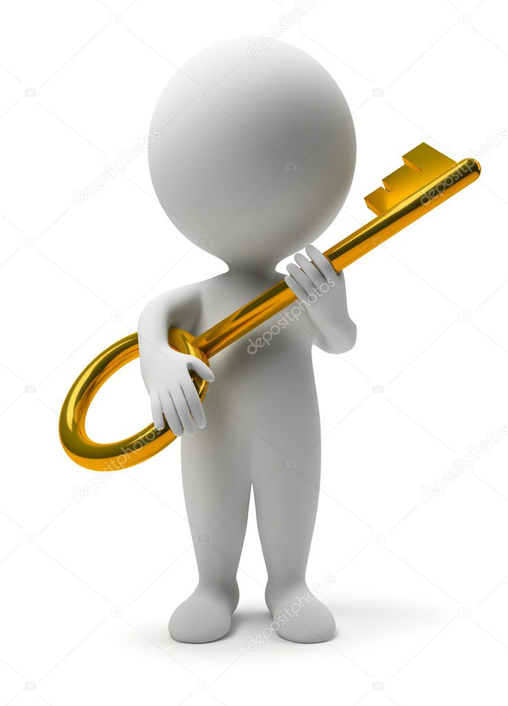 3d small with a gold key. 3d image. Isolated white background.  Stock Photo #1912519