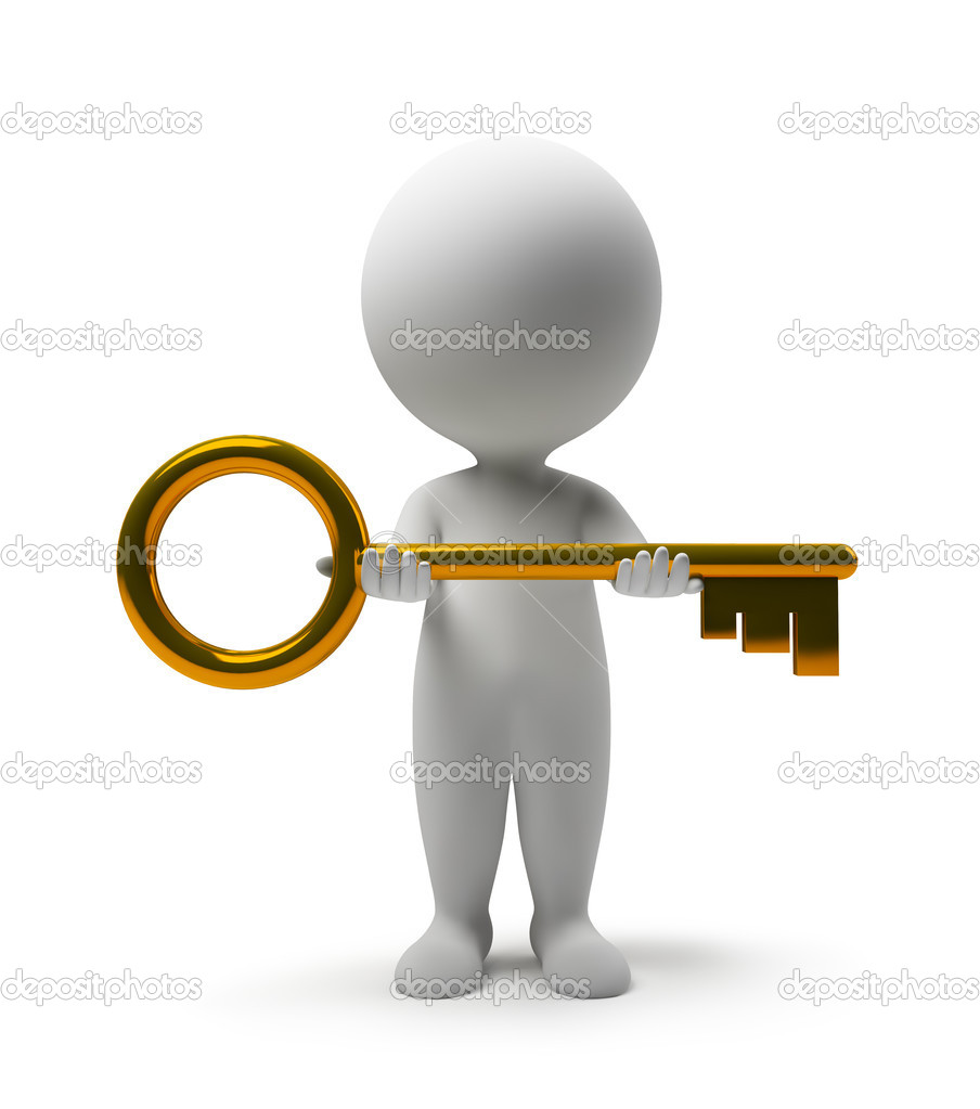 3d small with a gold key in hands. 3d image. Isolated white background. — Stock Photo #2322776