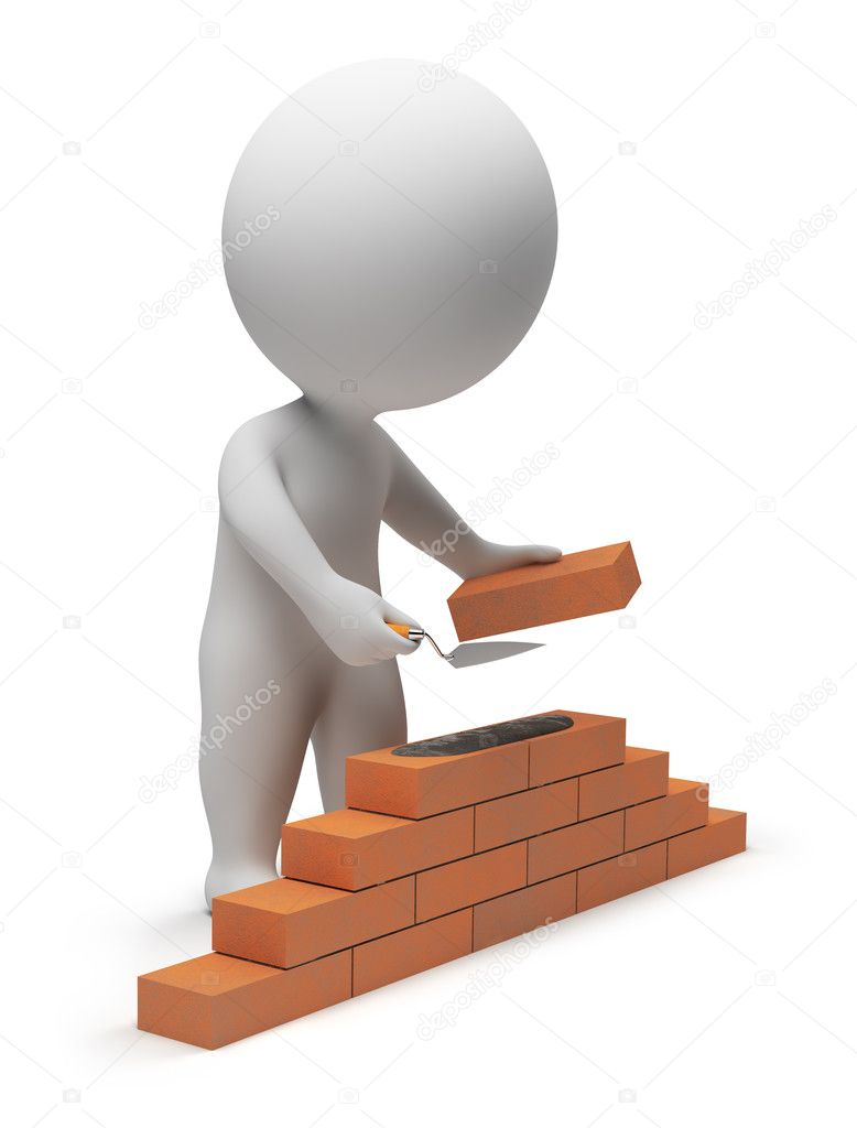 3d small - builder laying down bricks. 3d image. Isolated white background. — Stock Photo #2501202