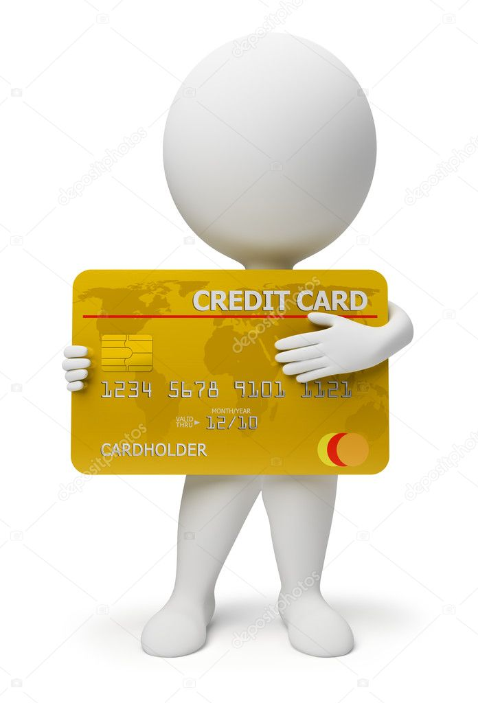 3d small with a credit card in hands. 3d image. Isolated white background. — Stok fotoğraf #2501205