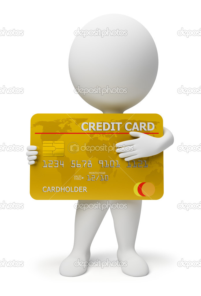 3d small with a credit card in hands. 3d image. Isolated white background. — Lizenzfreies Foto #2501205