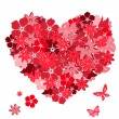 Floral heart with butterflies. Vector il — Vettoriali Stock