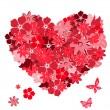 kwiatowy serca z motyle. wektor il — Wektor stockowy
