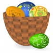 Royalty-Free Stock Vector Image: Basket with Easter eggs. Vector illustra