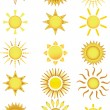 iconos de sol — Vector de stock