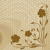 Wooden texture with flower. Vector illus — Stock Vector