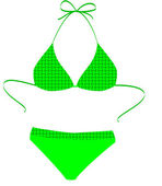 The isolated green bathing suit on a whi — Stock Vector