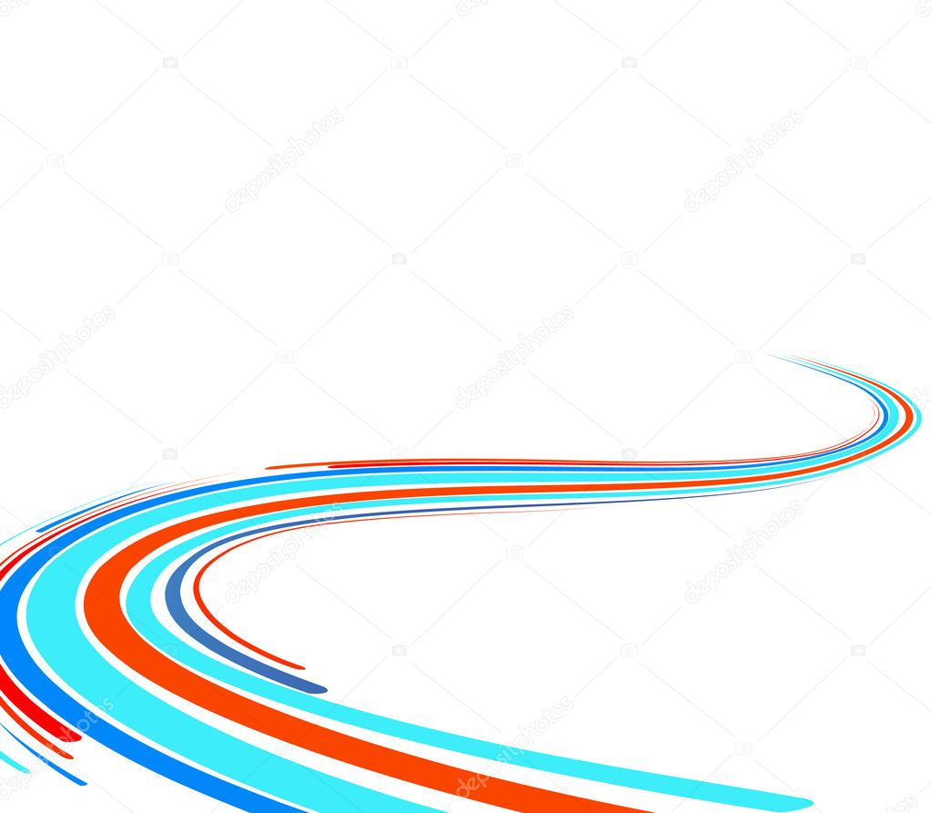 Abstract background with the blue and red bent lines. Vector illustration — Stock Vector #1132897