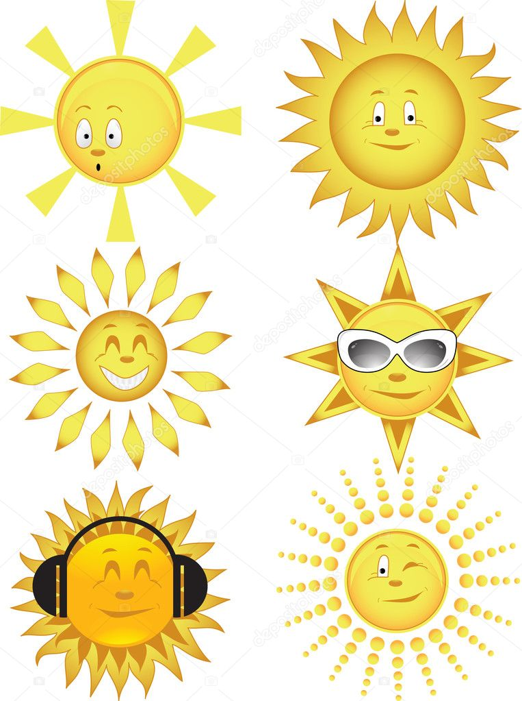 Collection of the sun. Vector illustration — ベクター素材ストック #1134574