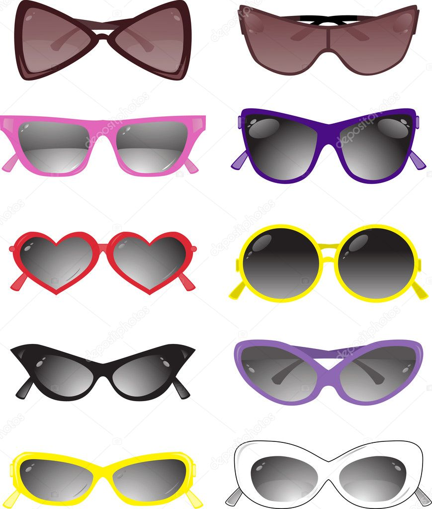 Collection of solar glasses. Vector illustration — Stock Vector #1135634