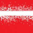 Red winter banner with snowflakes — Stockvektor