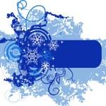 bannière hiver avec flocons de neige — Vecteur