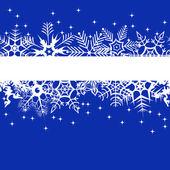 Banner de inverno azul com flocos de neve — Vetor de Stock
