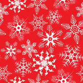 Red background with snowflakes — Vecteur
