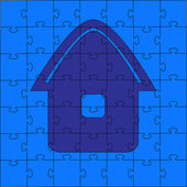 Puzzles - the house. Vector illustration — Stock Vector