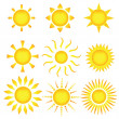 Stok Vektör: Sun icons. Vector illustration