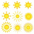 Sun icons. Vector illustration — Stock Vector