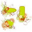 Green and orange banner with flowers — Imagen vectorial