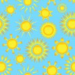 Seamless pattern with suns — Stok Vektör