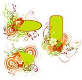 Groen en oranje banner met bloemen — Stockvector