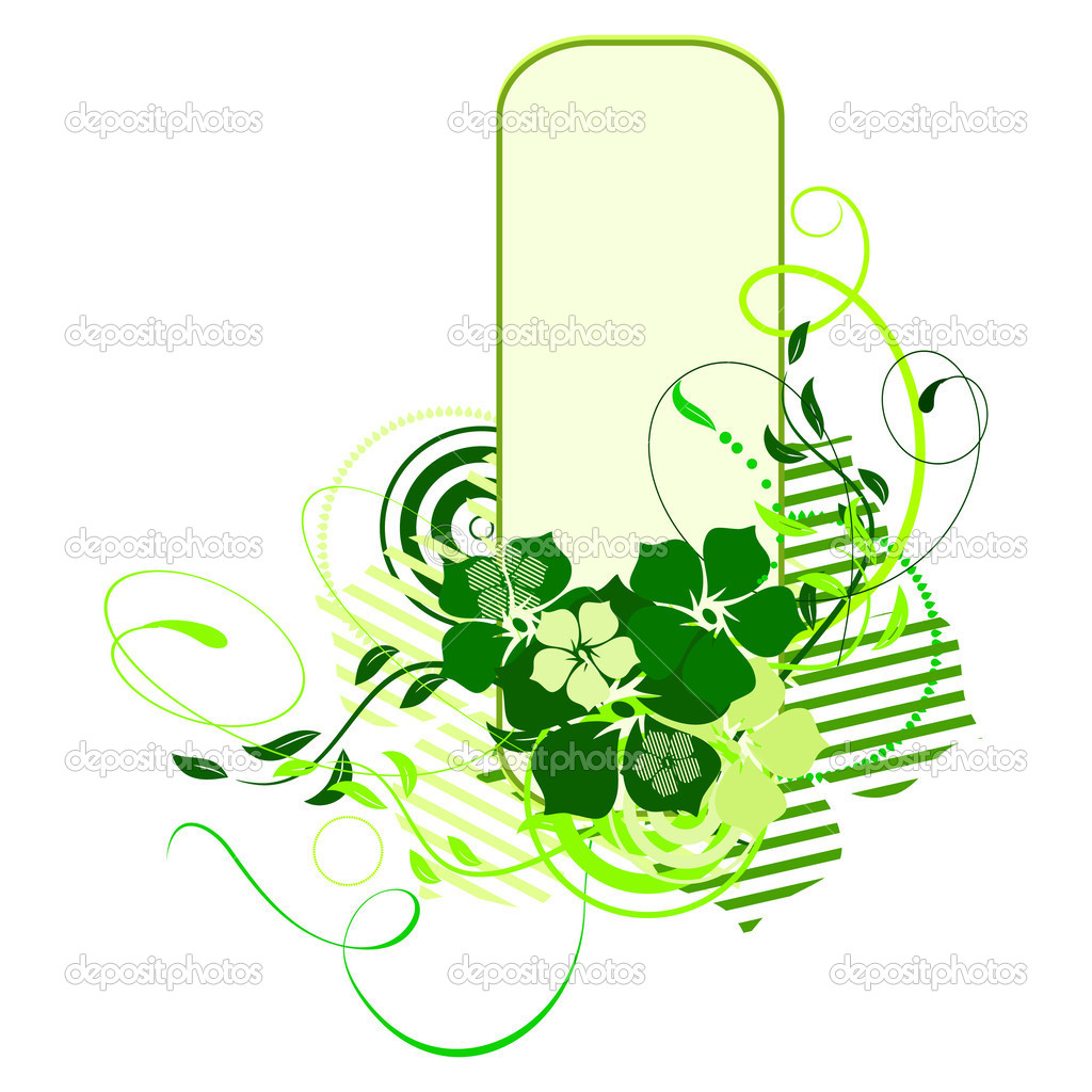 Green banner with flowers. Vector illustration — Stock Vector #1152691