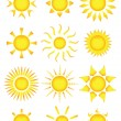 Sun icons — Vector de stock