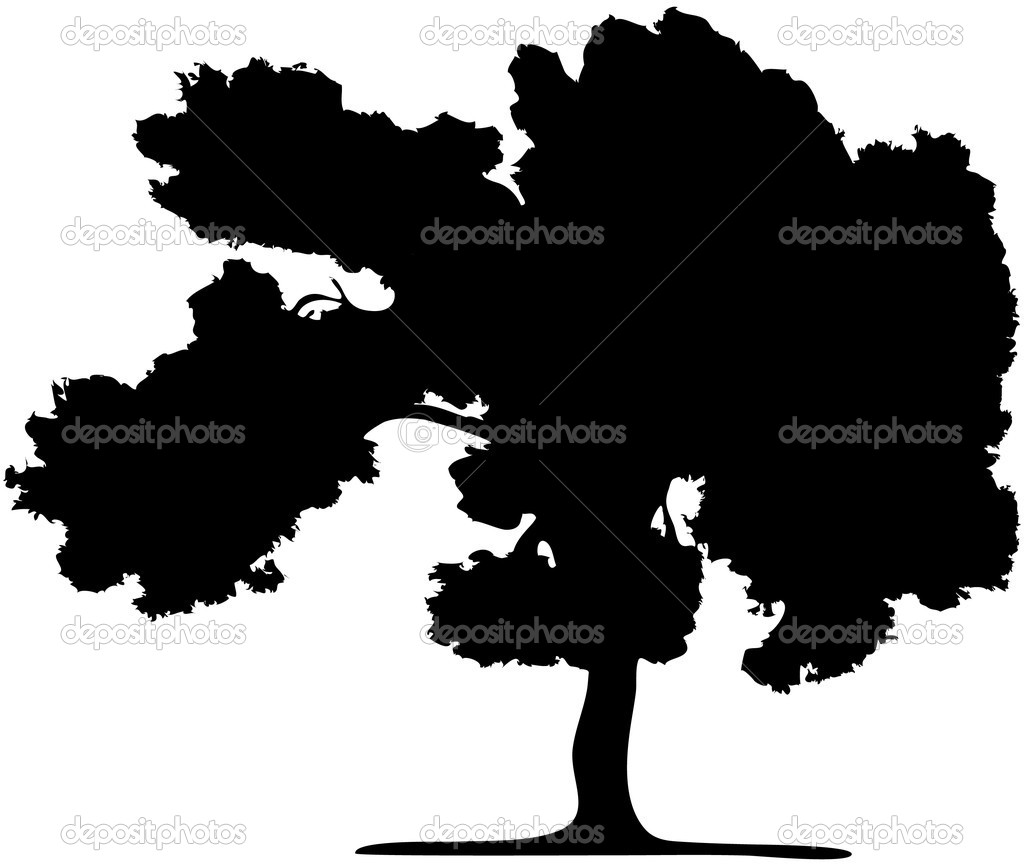 The silhouette of a tree isolated on a white background  Stock Vector #1731306