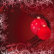 Christmas baubles on red background - Stock Vector