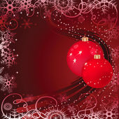 Christmas baubles on red background — Stock Vector