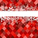 bannière rouge d'hiver avec des flocons de neige — Vecteur