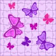 Puzzles with butterflies in pink colour — Stock Vector