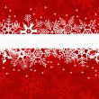 Stock Vector: Red winter banner with snowflakes