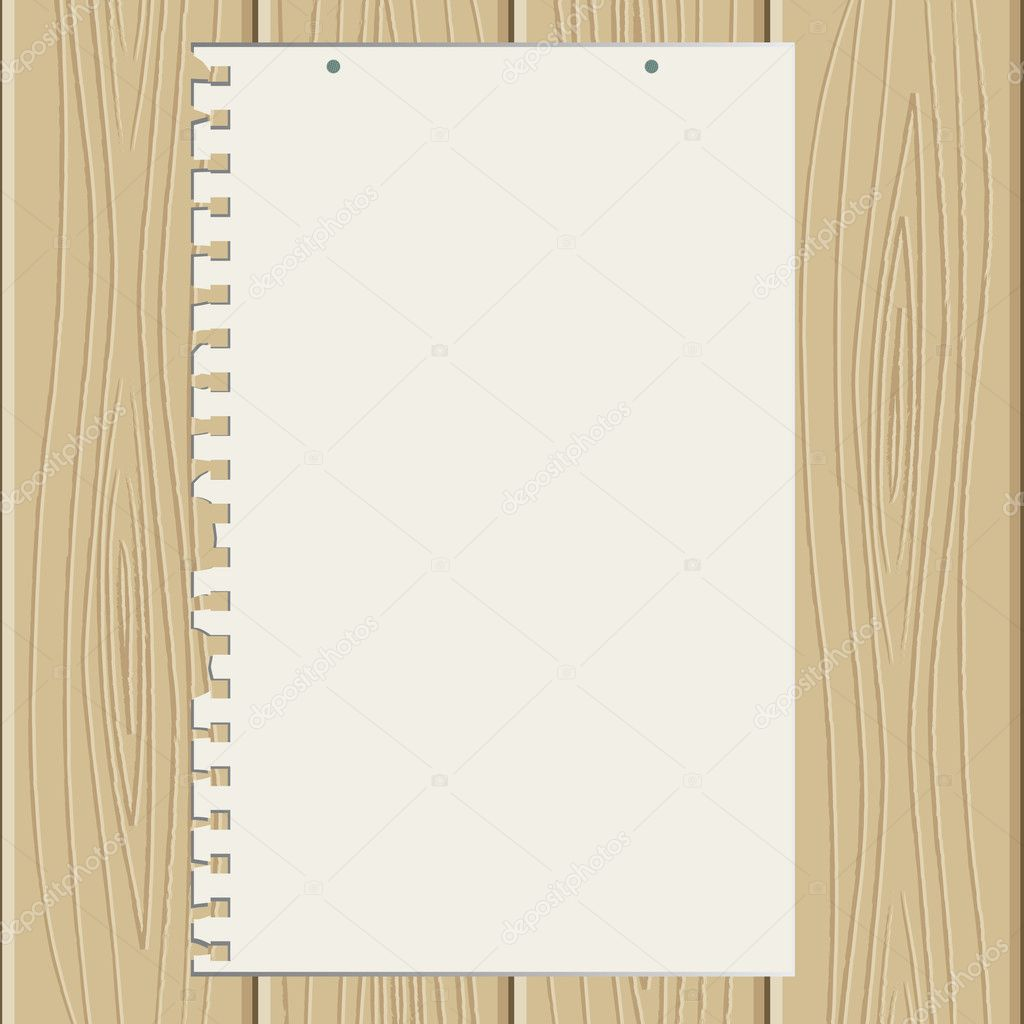 The torn off sheet of paper on wooden structure — Stock Vector #1922525