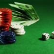 Craps on the green table — Stock Photo