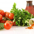 Fresh vegetables with paprika and jug - Stock Photo
