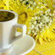 Royalty-Free Stock Photo: Morning cup of coffee with flowers
