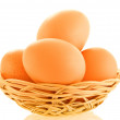 Few fresh raw brown eggs — Stock Photo