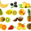 Set of frash ripe different fruits - Stock Photo