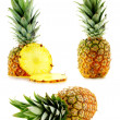 Set of fresh ripe pineapples - Stock Photo